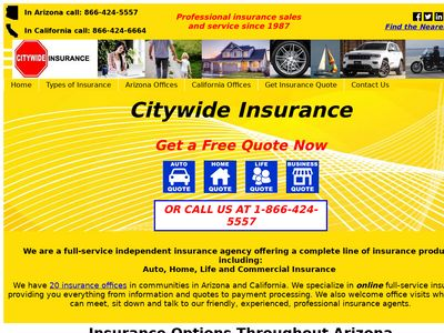 Citywide Insurance Website Thumbnail